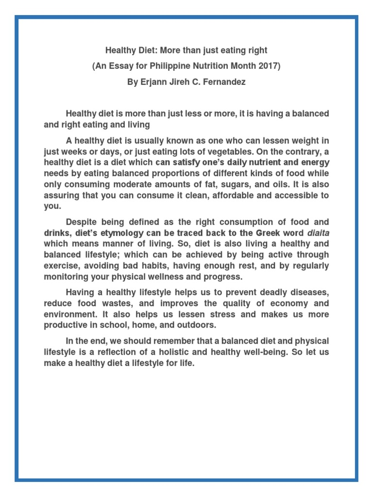 Essay about nutrition