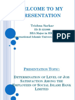 Determination of Level of Job Satisfaction Among the Employees of Social Islami Bank Limited