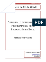 Desarrollo de Modelos de Programación de La Producción en Excel. Aplicación Docente