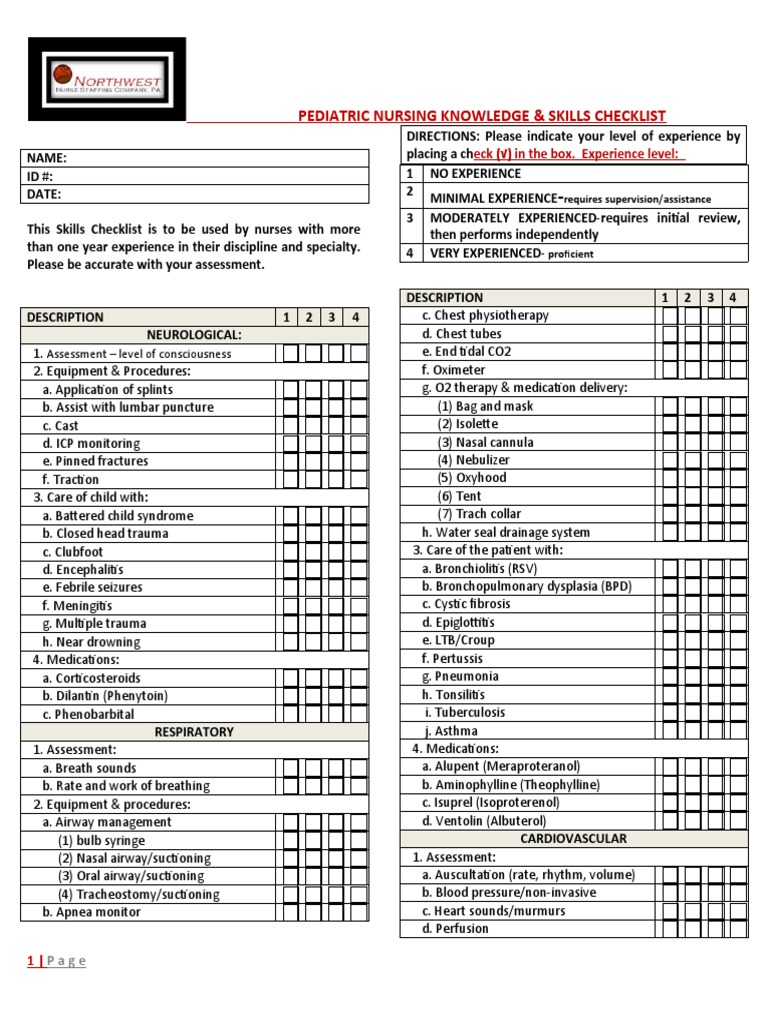 Pediatric Nursing Knowledge & Skills Checklist | Blood