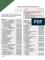 Cardiac Catheterization Knowledge & Skills Checklist