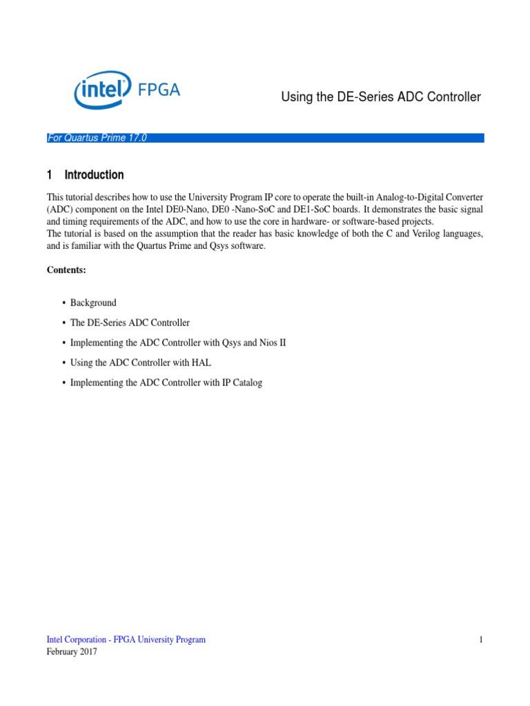 Using de Series ADC | Analog To Digital Converter | Field