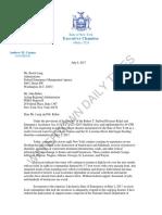 Governor Cuomo Letter to FEMA about Lake Ontario flood damage