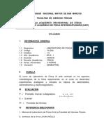 FCF UNMSM Silabus Laboratorio FisicaIII 2016I