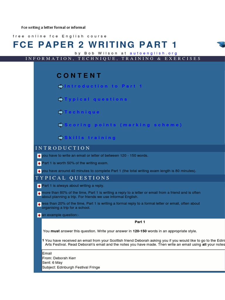 fce writing a letter formal or informal paragraph test assessment