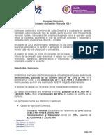 Resumen Ejecutivo Informe de Gestion 2012