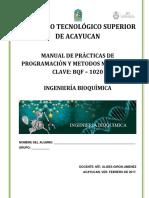 Manual de Programación y Metodos Numericos BQF - 1020