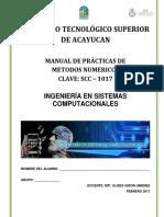 Manual de Prácticas de Métodos Númericos Scc - 1017 (2017)