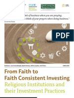 From Faith to Faith Consistent Investing Religious Institutions and their Investment Practices