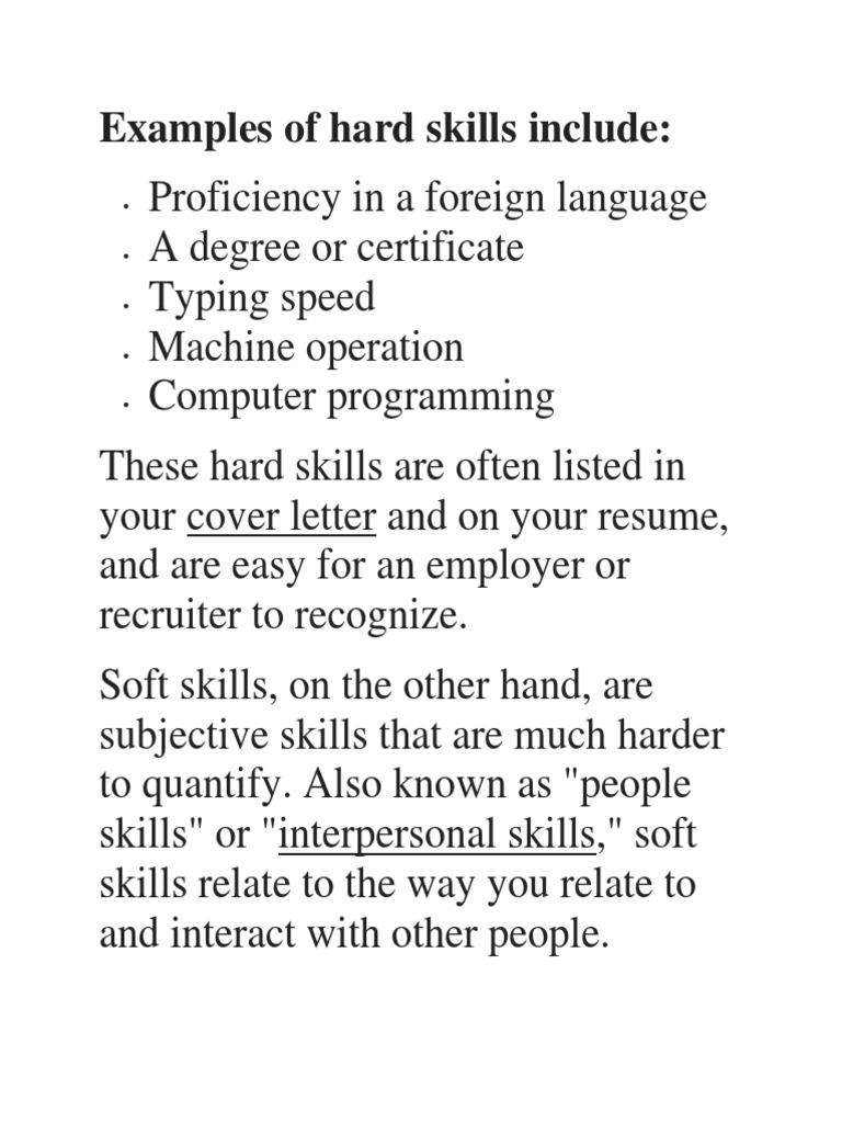 resume Hard Skills For Resume examples of hard skills include docx employment