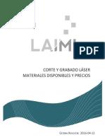 Corte Laser - Materiales y Precios