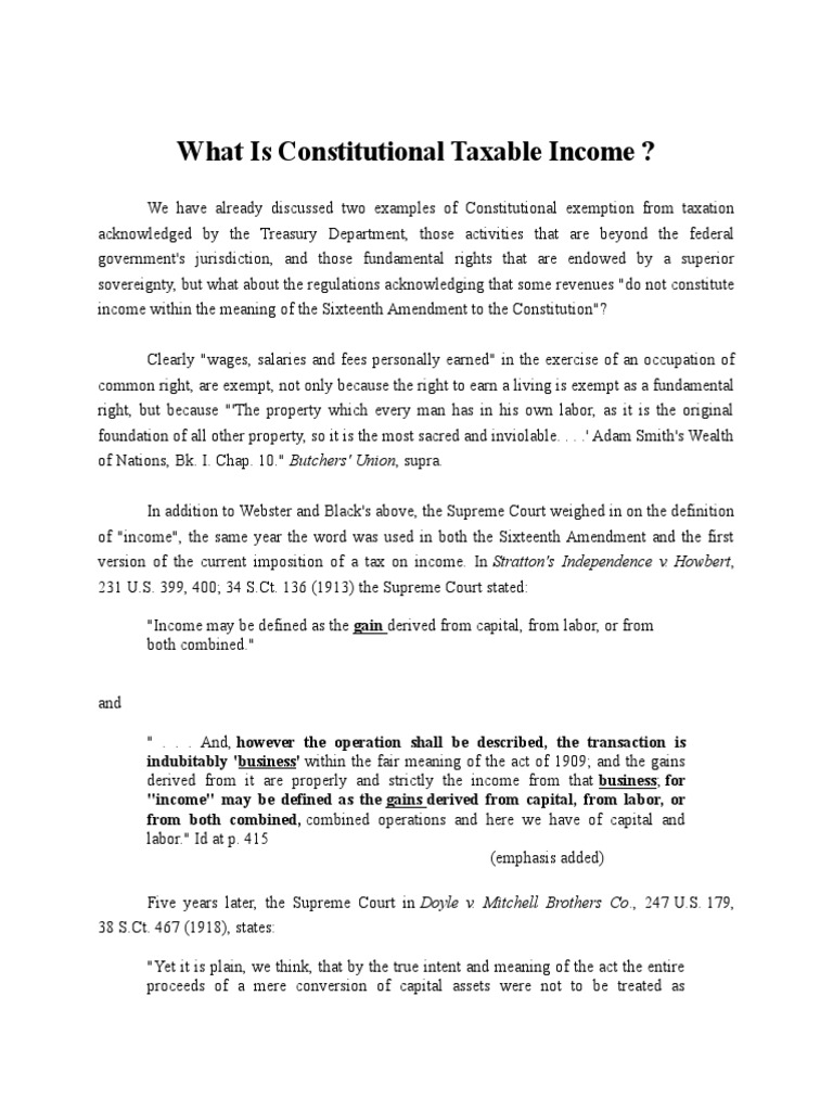 what is constitutional taxable income | income tax in the united