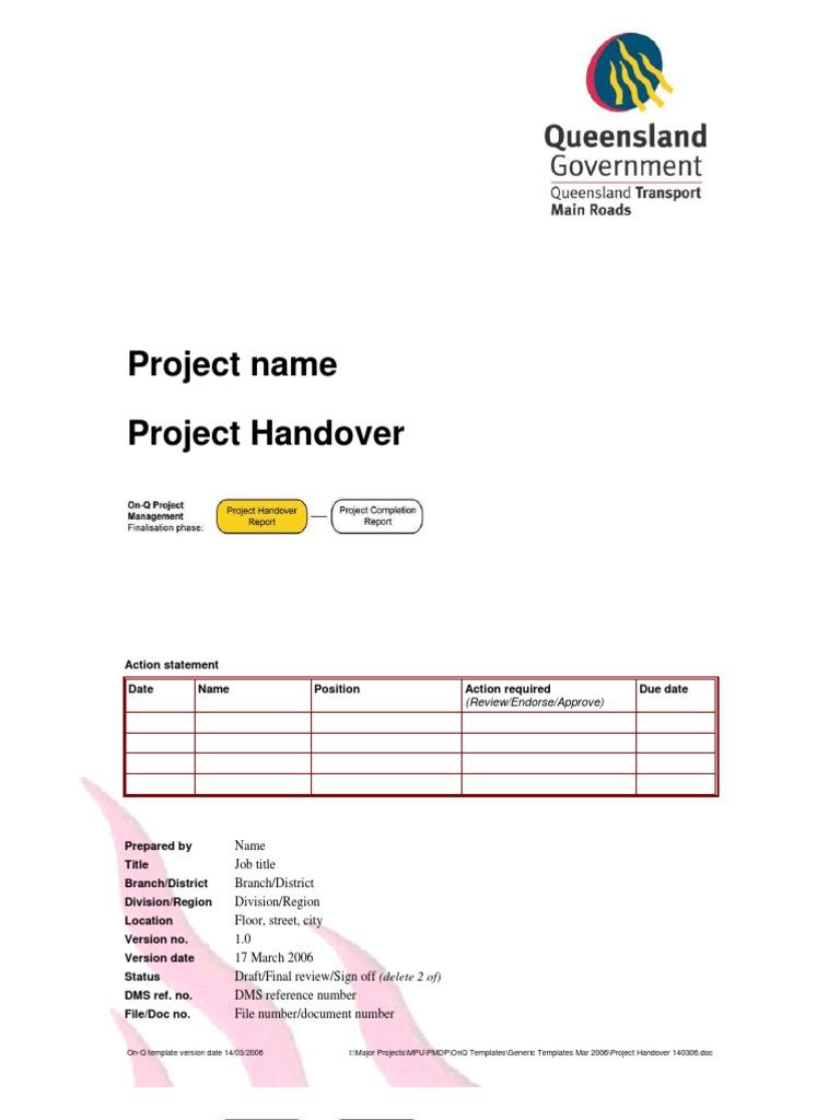 Project Handover Document Stakeholder Corporate – Handover Report Template