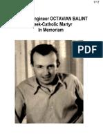 Prof. Dr. Engineer OCTAVIAN BALINT, Greek-Catholic Martyr, In Memoriam