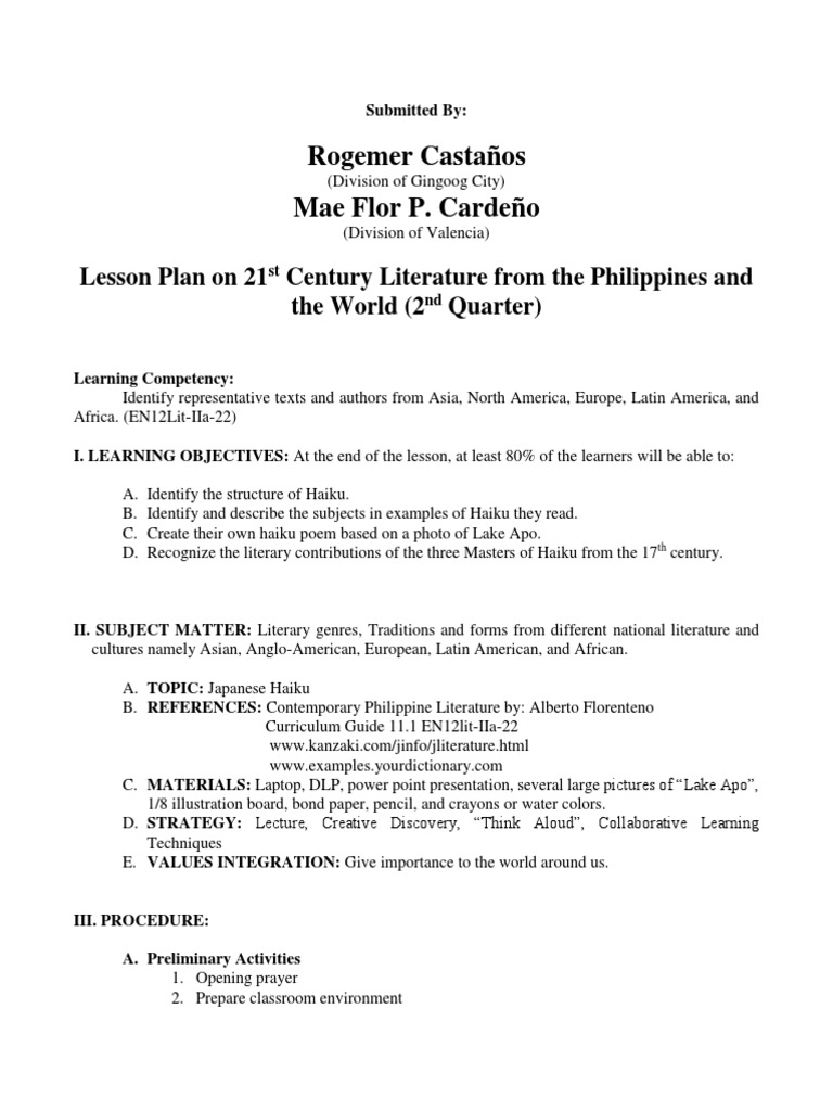 CARDENO - LESSON PLAN WORLD LIT docx | Haiku | Poesia