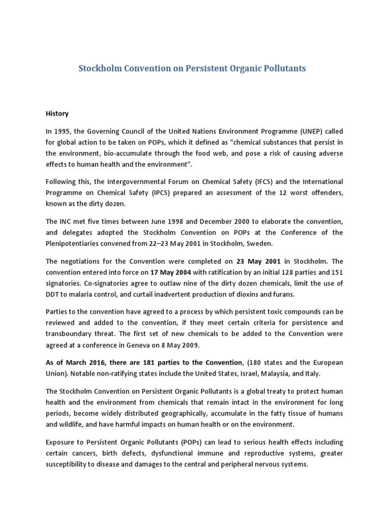 Stockholm Convention on Persistent Organic Pollutants