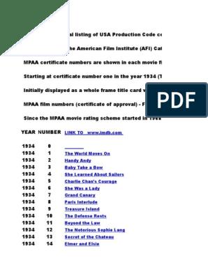 Mpaa Film Numbers 52000 | Leisure