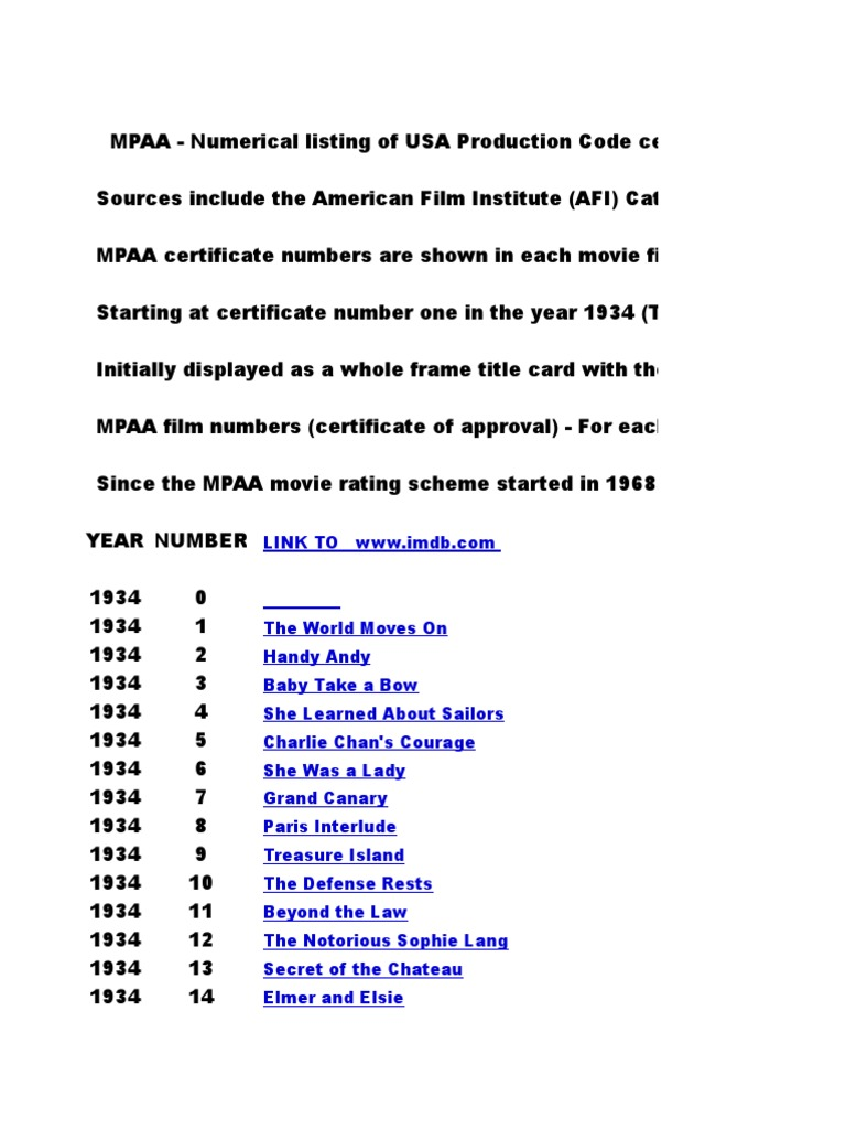 Mpaa Film Numbers 52000 | Leisure