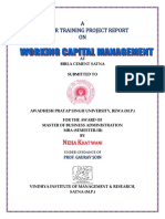 a summer training Project report on Working Capital Management
