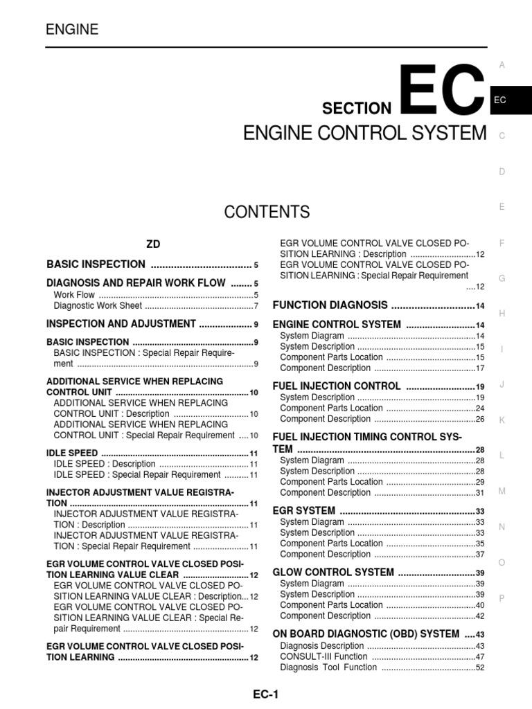 manual nissan cabstar medical diagnosis fuel injection rh scribd com Nissan ZD30 Engine Timing Nissan RB Engine