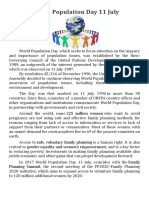 World Population Day 11 July