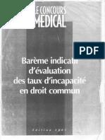 Barème indicatif d'évaluation des taux d'incapacité en droit commun du concours médical