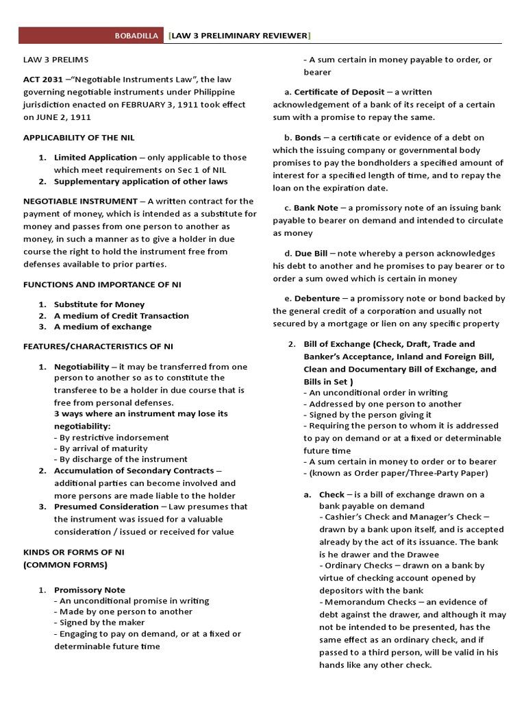 sec 14 negotiable instruments law explanation