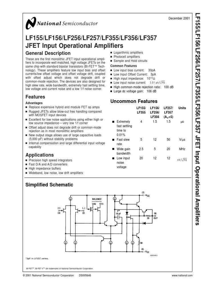 datasheet lf356 pdf amplifier operational amplifier rh scribd com