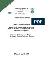 Identificación de Sistemas usando GADALINE generalizado