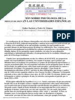 Investigación Sobre Psicologia de La Motivación en Las Universidades Españolas