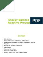 Energy Balance on Reactive Processes