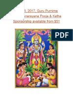 Sathyanarayana Pooja Sponsorship
