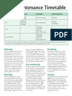 Tree Maintenance Timetable