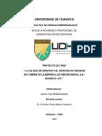 CALIDAD DE SERVICIO Y EL PROCESO DE DECISIÓN DE COMPRA EN LA EMPRESA AUTOMOTRIZ MOPAL S.A HUANUCO 2017