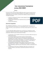 Calidad en Los Recursos Humanos Según La Norma ISO 9001