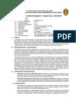 Silabo Comportamiento y Diseño Del Concreto Unj 2017-i