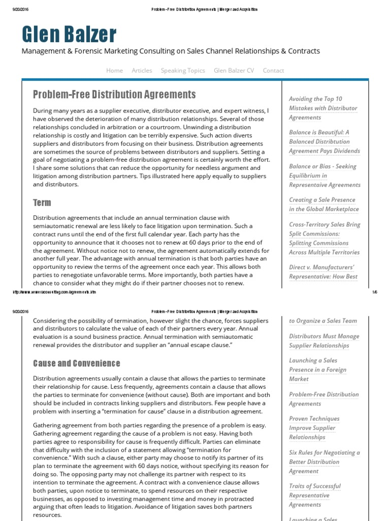 Problem Free Distribution Agreements Merger And Acquisition Due