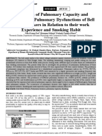Evaluation of Pulmonary Capacity and Prevalence of Pulmonary Dysfunctions of Bell Metal Smoking Habit Workers