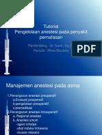 Pengelolaan Anestesi Pada Penyakit Saluran Pernafasan