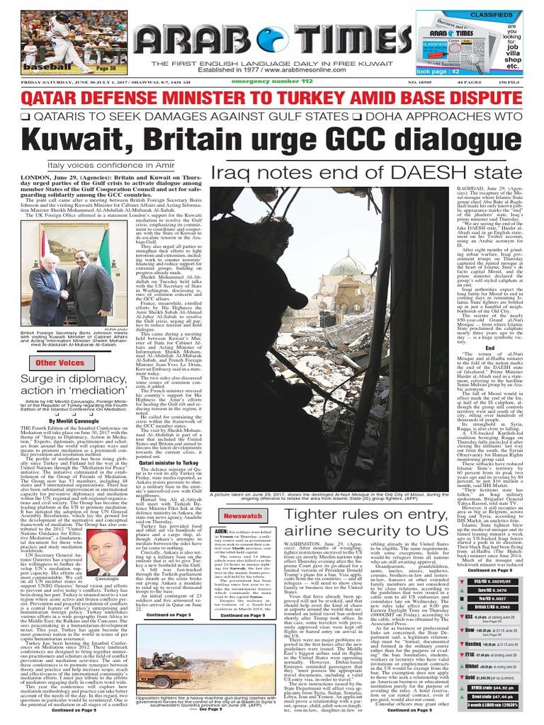 Arab Times - Vi 30 Jun y Sá 1 Jul 2017 | Política internacional | Islamic