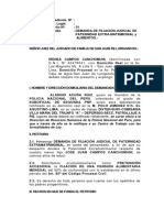 Demanda de Filiacion Extramatrimonial Alimentos Abel Cordova