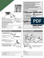Panasonic MP3 Digital Audio Player SV-MP100v 110v 120v Operating Instruction