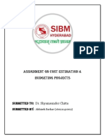 ASSIGNMENT on Cost Estimation