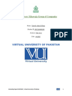 MGTi620 - Internship Report | Virtual University of Pakistan