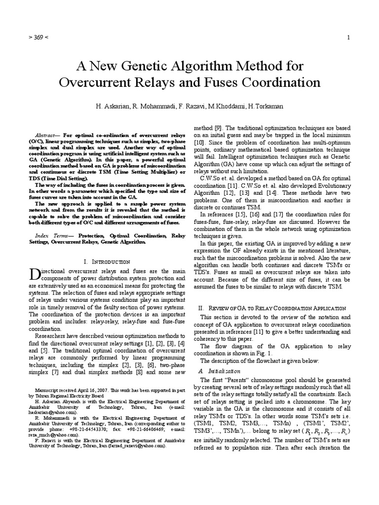 Papers For English Conferences A New Genetic Algorithm Method Function Of Overcurrent Relay Relays And Fuses Coordination Mathematical Optimization