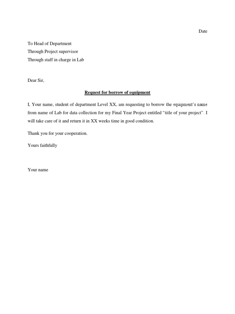 Sample Request Letter To Borrow Equipment