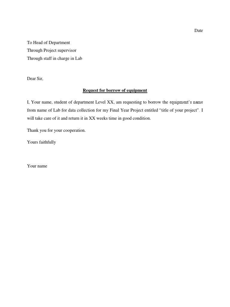 University sample permission letter to borrow equipment altavistaventures Images