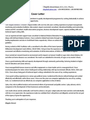 My Cover Letter | Capacity Building | Millennium Development Goals