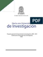 Programa General Desarrollo Investigación U de a 2009-2010