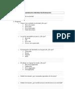 Cuestionario Individual de Evaluación
